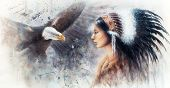 picture of indian culture  - beautiful airbrush painting of a young indian woman wearing a gorgeous feather headdress with an image eagle spirits - JPG