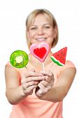 Happy Girl With Lollipop Heart,watermelon And Kiwi Fruit