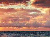 Colorful Sunrise Sky Over Atlantic Ocean. Toned Photo Filter