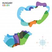 Abstract vector color map of Hungary with transparent paint effect.
