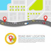 Paved path on the road. Vector background