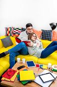 Couple on the couch at home