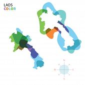 Abstract vector color map of Laos with transparent paint effect.