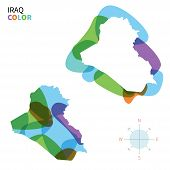 Abstract vector color map of Iraq with transparent paint effect.