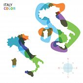 Abstract vector color map of Italy with transparent paint effect.