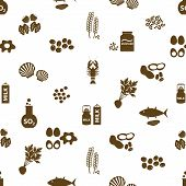 foto of mollusca  - set of typical food alergens for restaurants seamless pattern eps10 - JPG