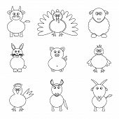 Farm Animals Simple Outline Icons Set Eps10