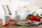 Valentines day tea for two with red roses