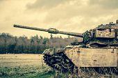 image of panzer  - Old russian tank in late autumn nature - JPG
