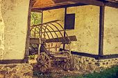 stock photo of farmhouse  - Old photo at one romanian farmhouse exterior in Banat area Romania - JPG