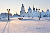 TOBOLSK, RUSSIA - JANUARY 7, 2015: Gostiny Dvor and St. Sophia-Assumption Cathedral in the Tobolsk Kremlin. Built in XVII-XVIII centuries, it is the federal listed architecture monument