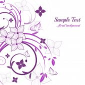 Abstract purple floral background with leaves and butterflies