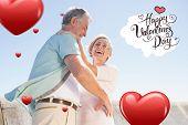 Senior woman hugging her partner against happy valentines day