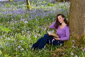 Young woman sitting under a tree in a springtime bluebells forest