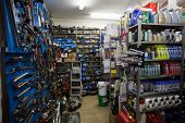 Full store room at the repair garage