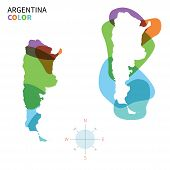 Abstract vector color map of Argentina with transparent paint effect.
