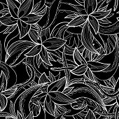 Hand-drawn Floral Abstract Seamless Pattern, Monochrome Background
