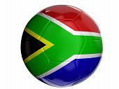 Soccer ball with flag of South African republic