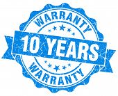 10 Years Warranty Blue Vintage Isolated Seal