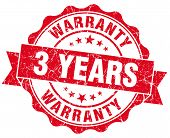 3 Years Warranty Red Vintage Isolated Seal