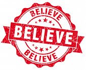 Believe Red Vintage Isolated Seal