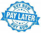 Buy Now Pay Later Blue Vintage Isolated Seal