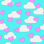 Seamless hearts and clouds pattern