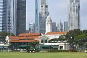 Exterior of the colonial buildings and modern architecture in Singapore.