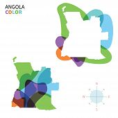 Abstract vector color map of Angola with transparent paint effect.