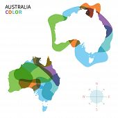 Abstract vector color map of Australia with transparent paint effect.