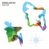 Abstract vector color map of Bangladesh with transparent paint effect.