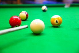 stock photo of snooker  - Snooker ball on snooker table - JPG