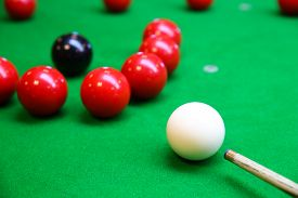 image of snooker  - Snooker ball on snooker table - JPG