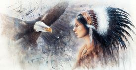 stock photo of indian  - beautiful airbrush painting of a young indian woman wearing a gorgeous feather headdress with an image eagle spirits - JPG