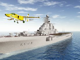 picture of fighter plane  - Computer generated 3D illustration with Russian Aircraft Carrier and Fighter Plane of the cold war - JPG