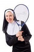 stock photo of nun  - Pretty nun isolated on white - JPG