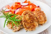 stock photo of pork chop  - Fried pork chop with tomato salsa on white plate - JPG