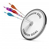 picture of common  - Many arrows hitting the same target Concept image for business cooperation or common goal - JPG