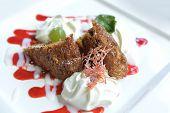 stock photo of ice-cake  - ice cream with sweet sauce and cake - JPG
