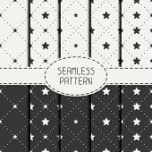 stock photo of starry  - Set of geometric seamless stars pattern - JPG