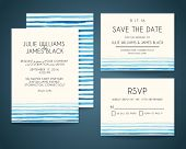 foto of wedding  - Vector set Wedding invitation cards with watercolor background - JPG