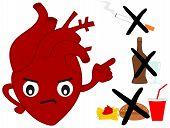 pic of  habits  - human heart versus bad habits funny cartoon illustration - JPG