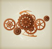 picture of steampunk  - Vector grunge background in the style of steampunk - JPG