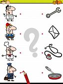 stock photo of brain-teaser  - Cartoon Illustration of Education Element Matching Game for Preschool Children with People Occupations - JPG