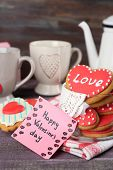 picture of teapot  - Heart shaped cookies for valentines day - JPG