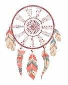 pic of dream-catcher  - Vector illustration of romantic dream catcher with feathers - JPG