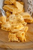 stock photo of toffee  - Honeycomb or cinder toffee hokey pokey sea foam known by many names and enjoyed around the world - JPG