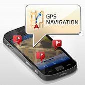 image of gps navigation  - Dialog box pop up over screen of phone - JPG