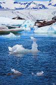 pic of iceberg  - Floating icebergs in Jokulsarlon Glacier Lagoon - JPG