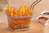 foto of dipping  - Fried potatoes chest and sauces dip - JPG